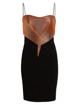 Gathered Chainmail Bodice Sheath Dress