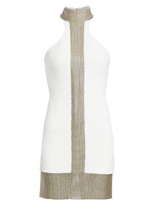 Chainmail Trim Mini Dress