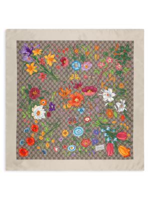 GG Flora-Print Silk Scarf