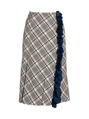 Sequin Stripe Check Midi Skirt