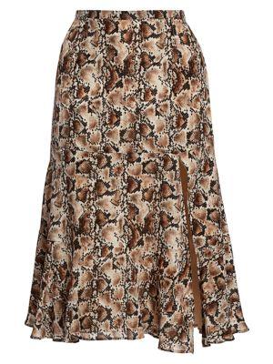 Clementine Snakeskin-Print Silk Midi Skirt