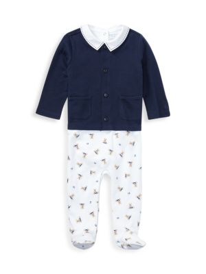 Baby Boy's Three-Piece Bodysuit, Cardigan & Footie Set