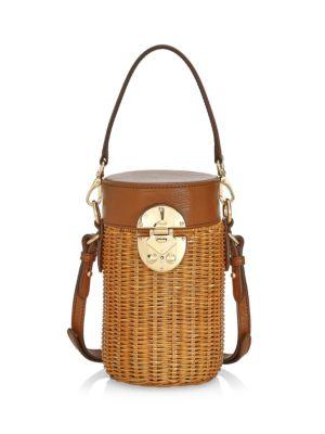 Midollino Mini Leather & Wicker Bucket Bag