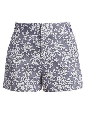 Cady High-Waist Printed Chambray Shorts