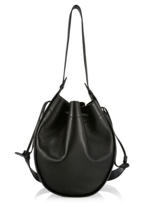 XL Drawstring Leather Hobo Pouch