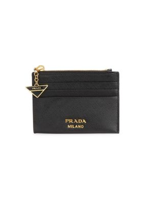 Triangolo-Charm Leather Zip Card Case