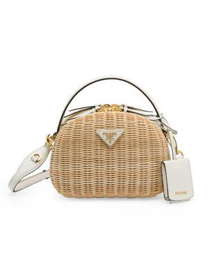 Odette Wicker & Leather Top Handle Bag