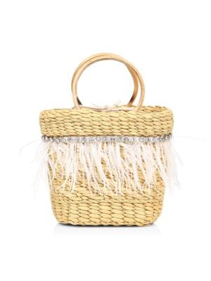 The Mak Feather- & Crystal-Embellished Straw Tote