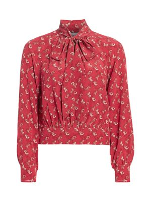 Horse And Carriage Tie-Neck Blouse