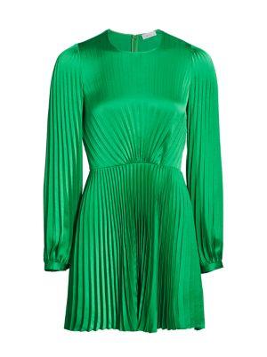 Tavi Long-Sleeve Pleated Mini Dress