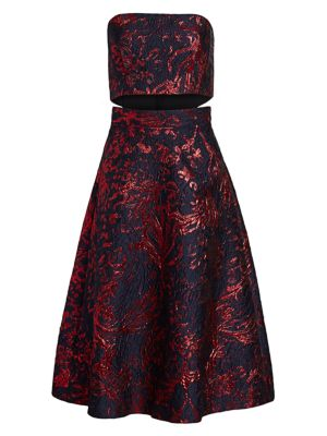 Cotenna Jacquard Strapless Flare Dress