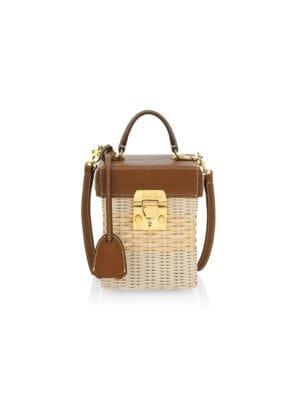 Grace Leather-Trimmed Rattan Crossbody Cube Bag