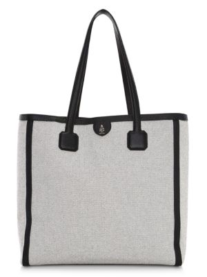 Antibes Leather-Trimmed Birdseye Tote