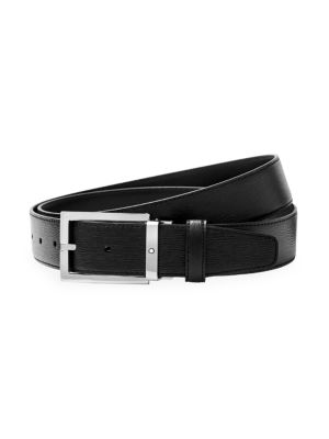 Westside Rectangular Shiny Stainless Steel Pin Buckle Leather Belt