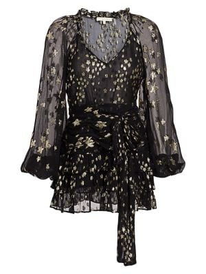 Rina Star Metallic Silk-Blend Mini Dress