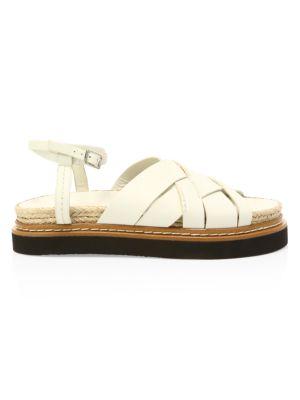 Yasmine Leather Flatform Espadrille Sandals