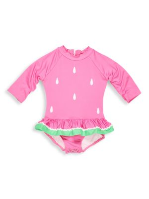 Baby Girl's One-Piece Watermelon Skirted Rashguard