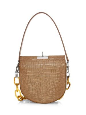 Small Demilune Croc-Embossed Leather Crossbody Bag