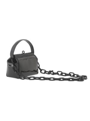 Water Leather-Trimmed PVC Crossbody Bag