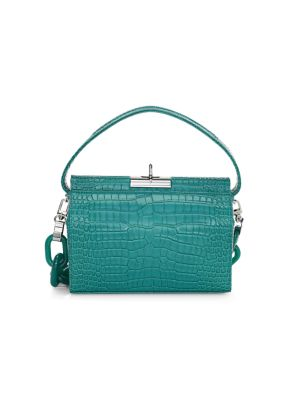 Small Milky Croc-Embossed Leather Crossbody Bag