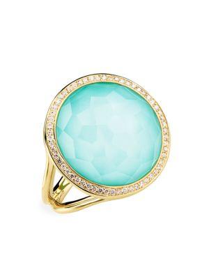 Lollipop® 18K Yellow Gold Diamond & Turquoise Ring