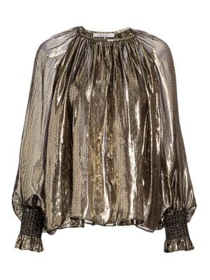 Helena Lamé Silk-Metallic Puff-Sleeve Blouse