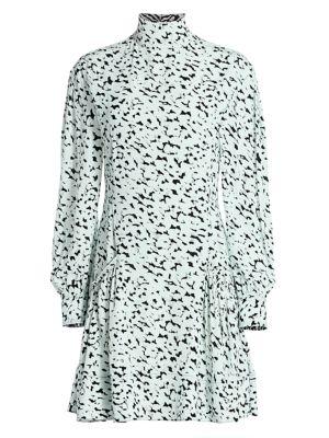 Puff-Sleeve Printed Mini Dress