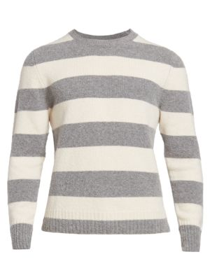 Shaggy Colorblock Striped Sweater