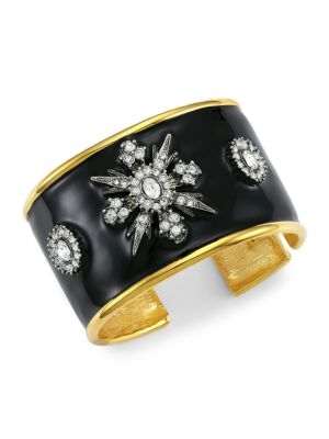 Goldplated, Black Enamel & Crystal Cuff Bracelet
