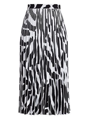 Pleated Abstract Print Skirt
