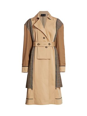Mixed Glen Plaid Belted Trench Coat