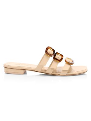 Tallulah Tri-Strap Leather Slides