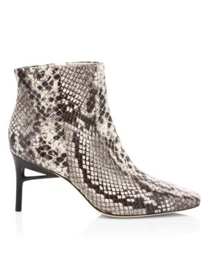 Arezoo Square-Toe Snakeskin-Embossed Leather Ankle Boots