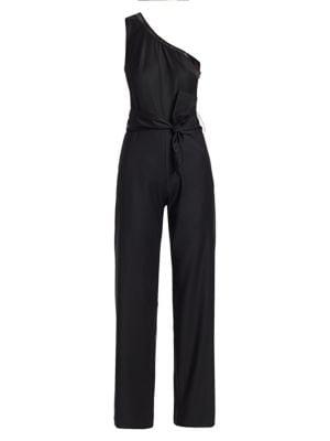 One Shoulder Sequin Trim Jumpsuit