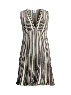 Striped Glitter-Knit Sleeveless Dress