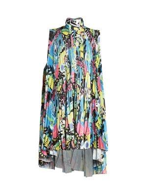 Pleated Paris By Night Printed Dress