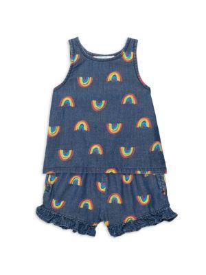 Baby Girl's Rainbow-Print Chambray Tank & Shorts Set
