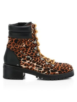 Lorren Leather-Trimmed Leopard-Print Tweed Hiking Boots