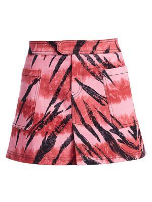 Siren Tiger-Print Denim Mini Skirt