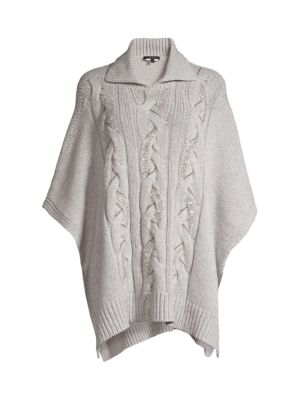 Cable-Knit Cashmere Sequin Poncho