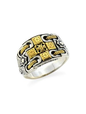 Kleos 18K Yellow Gold Sterling Silver Cross Ring
