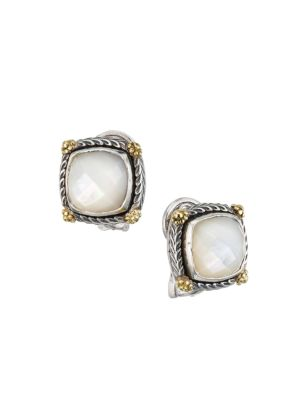 Delos 18K Yellow Gold, Sterling Silver & 7.25MM Square Mother-Of-Pearl Stud Earrings