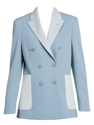 Colorblock Double-Breasted Stretch-Wool Blazer