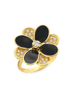 Petali 18K Yellow Gold, Black Enamel & Diamond Pavé Flower Ring