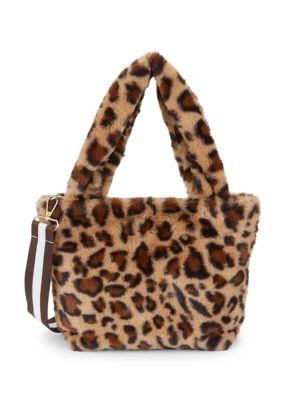 Leopard Print Faux Fur Tote Bag