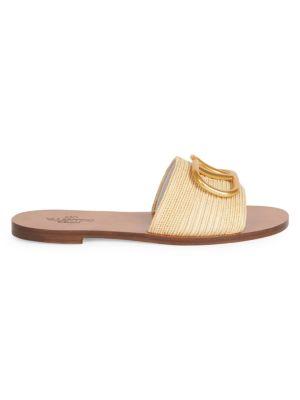 Valentino Garavani VLogo Raffia Slide Sandals