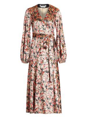Beatrix Floral Velvet Puff-Sleeve Wrap Dress