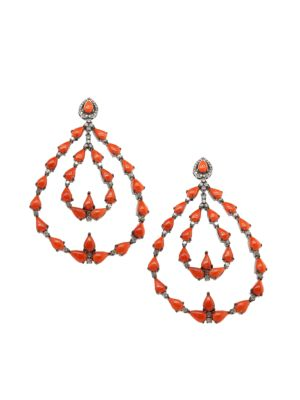 Black Rhodium-Plated, Coral & Diamond Chandelier Earrings