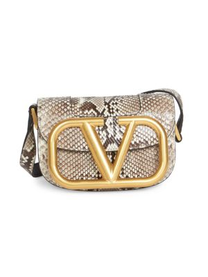 Valentino Garavani Small Supervee Python Saddle Bag