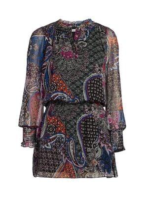 Toledo Floral & Paisley Silk Blouson Dress